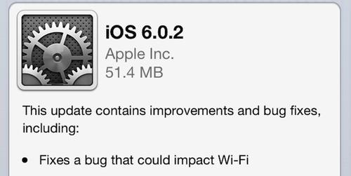Thông báo nâng cấp trên iPhone 5 và iPad Mini.