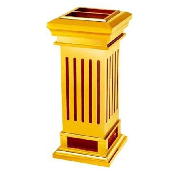 Thùng rác inox có gạt tàn, hình vuông, mạ vàng
