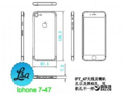 Sơ đồ thiết kế của iPhone 7.