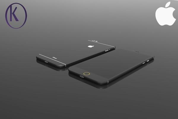 Diện mạo của iPhone 7, phiên bản màu đen với viền nút home ảo phát sáng